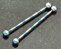 "2 Pc 2- Tone blue titanium industrial barbell, cartilage piercing 1.5"" 14g"
