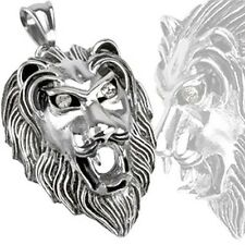 Stainless Steel Lion Guardian of the Gate with Clear CZ Eyes Pendant P223