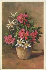 VINTAGE PINK RHODODENDRON EDELWEISS POTTED FLOWERS POSTCARD ART LITHOGRAPH PRINT