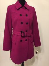 Anne Klein Purple Double Breasted Belted Coat Size Small NWT
