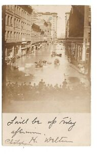 PITTSBURGH PA RPPC FLOOD OF 1907 DOWNTOWN STREET