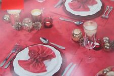 Christmas Tableware Runner,Table Cloth,Table Place Mats Red Color Reindeer Print