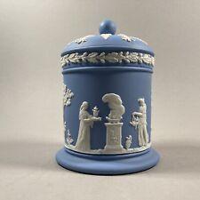 Vintage Blue Wedgwood Embossed Queensware Glazed Porcelain Covered Jar~England