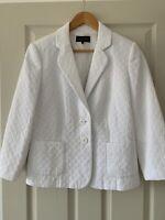 Gorgeous White Quilted Lightweight JAEGER Blazer Smart Jacket Size UK 14