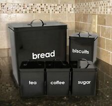 Black Tea Coffee Sugar Canisters 5 Piece Set Jar Bread Bin Home Kitchen Storage