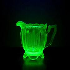 Vintage Fenton Glass Topaz Opalescent Cactus Vaseline Glass Creamer
