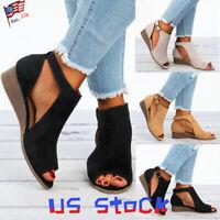 Fashion Women Wedge Heels Peep Toe Dress Shoes Buckle Party Sandals Gladiator US