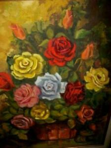 VINTAGE ROSES OIL PAINTING GILT & WOOD FRAME FRENCH STYLE MID CENTURY