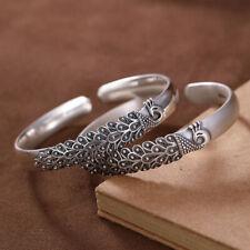 S999 Pure Silver Animal Peacock Matt/Make Old Women's Jewelry Bangle Bracelet