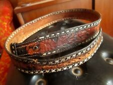 36 37 38 True Vtg 50s LEATHER Cowboy HAND TOOLED Patina Authentic Western Belt