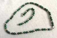 Green Swirl Beads & Silver Tone Bead Stainless Steel Clasp Necklace Bracelet Set