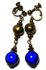 Long Blue Clip-On Earrings Antique Bronze Style Drop Dangle Boho Hippy Clips