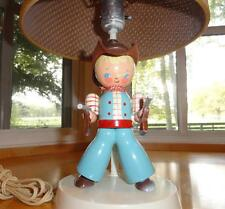 Vtg~Irmi~Nursery~Original ~Child~Baby~Boy~Cowboy~Gun s~Wood~Wooden~Blue~Lamp~Li ght