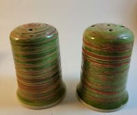 """Green Rust Glaze Salt & Pepper Shakers Set Ceramic Pottery with stoppers 3.5"""""""