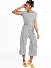 7d7bf35693 Old Navy Textured Boucle Wrap Back Tie Belt Jumpsuit-Charcoal Stripe-Size  ST-