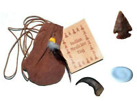 "3"" Medicine Poke Bag Brown Native American FREE Arrowhead Worry Stone Bear Claw!"