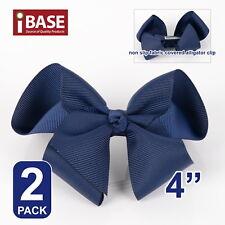 "2x Hair Bows Clip School Girls bow knot Band Ponytail Ribbon Alligator 4"" Blue"