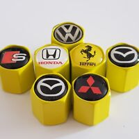 FERRARI MITSUBISHI YELLOW Valve Dust caps ALL COLOURS /CARS other cars ask Us