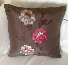 """NEW 15"""" LUXURY MACHINE EMBROIDERED BROWN PINK SILVER SILKY FABRIC CUSHION COVER"""