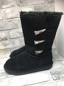 BEARPAW LADIES BLACK SHEEPSKIN CALF TOGGLE BOOTS SIZE 5 UK 38 EUR