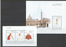 TG647 2013 TOGO FAMOUS PEOPLE RELIGION POPES KB+BL MNH