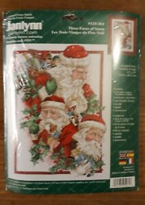Janlynn Counted Cross Stitch Christmas Kit #125-261 'Three Faces of Santa ' New!