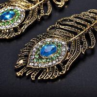 Vintage Rhinestone Peacock Eye Feather Dangle Hook Earrings Women's Jewelry Gift