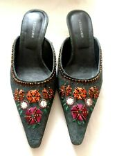6fdb76d6729 CHOCKERS Blue Real Suede Leather Beaded Embroidered Kitten Heel Mules SIZE  39