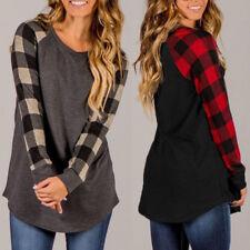 ZANZEA Women Plaid Check Long Sleeve Blouse Shirt Round Neck Casual Tops Plus