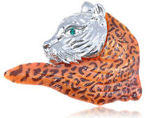 School Mascot Fashion Pin Brooch Gift Alloy Crystal Elements Orange Wild Bobcat