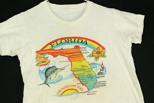 Vintage 80s Tropix Togs Florida Tourist Souvenir T Shirt Youth Boys M White