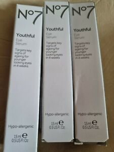 No7 Youthful Eye Moisturiser Serum ,15ml.3 tubes.£59.97 rrp