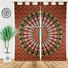 Indian Bohemian Mandala Hippy Gypsy Curtains in Blue Multi color Boho Curtains