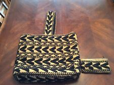 Vintage Jute And Wool Yarn 1960s Handbag With Matching Wallet