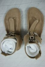 TILLY ROSE tan 100% leather suede thongs sandals size 39/9 NEW
