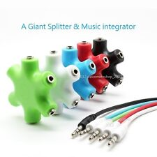 3.5mm Earphone Headphone Audio Splitter 1 Male to 2 3 4 5 Female Port Cable New