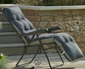 PADDED FOLDABLE RECLINER LOUNGER CHARCOL SUN CHAIR FOR GARDEN/CAMPING