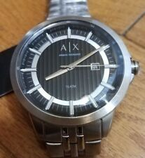 Mens Armani Exchange Watch Silver-Tone Stainless Steel 10 ATM $160