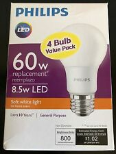 LED 8.5w A19 Bulb  Replace equivalent 60w Incandescent / 4-Pack