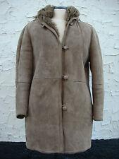 Womens Original Genuine Muflone Coat With Hood - Size 46
