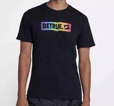 NIKE MEN'S BETRUE BLACK MULTI COLOR T-SHIRT BE TRUE LGBTQ AR4628 010 sz L