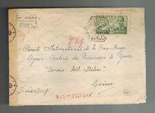 1943 Barcelona Spain Censored Cover to Red Cross Geneva Switzerland