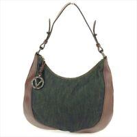 Valentino Garavani Shoulder bag Brown Canvas Leather Woman Authentic Used T9073