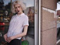 Bluse Rüschen transparent Spitze Perlon 60er TRUE VINTAGE 60´s lace blouse nylon