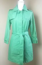 GAP Womens green trench rain coat jacket size small S 3/4 length belted