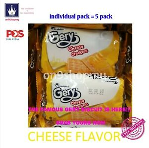 [5x20g] GERY CRUNCHY COOKIES BISCUIT CRACKERS FILLED WITH CHEESE ON TOP