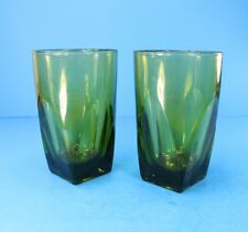 VTG Green DRINKING Glasses Square Bottom Glasses Heavy Set of 2 1960s VERY GOOD