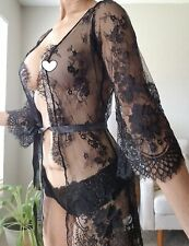 Black Sheer Sexy Rob Lingerie Sleepwear Cover Up Lace Small