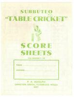 Subbuteo TC-F Table Cricket Score Sheets Rare Cricket Accessories
