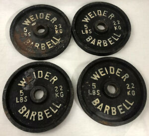 Vintage Weider Weight plates  5 LBS X 4 Blank back USA
